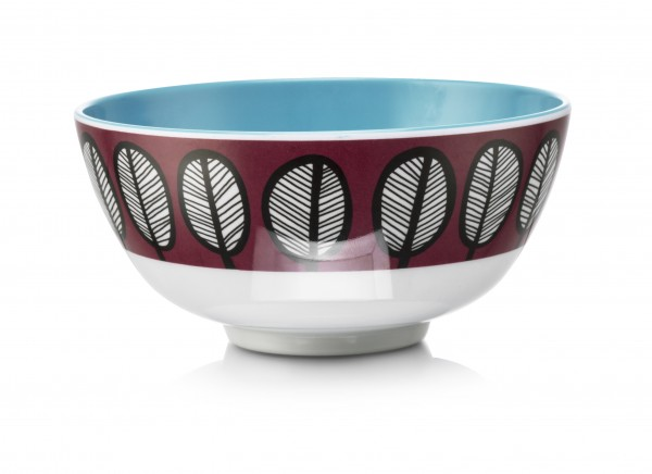 Melamine Bowl, TRIBAL LEAF MAROON
