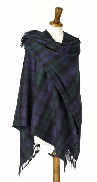 Merino-Mini Ruana 140 x 135cm, TARTAN - Black Watch