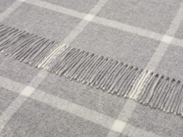 Merino-Decke - WINDOWPANE Grey, 140 x 185 cm