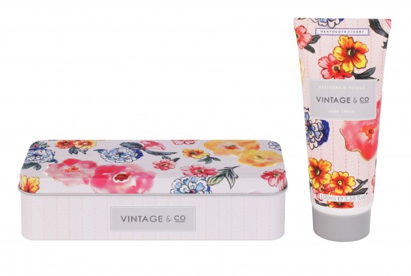 VINTAGE PATTERNS & PETALS, Hand Cream in Tin 100ml
