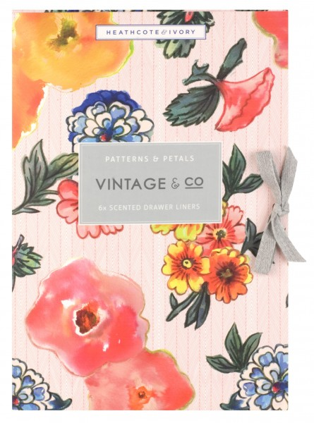 VINTAGE PATTERNS & PETALS, 6 Scented Drawer Liners