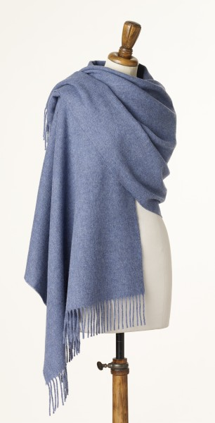 Merino-Stole 70 x 190cm, Plain - Air Force