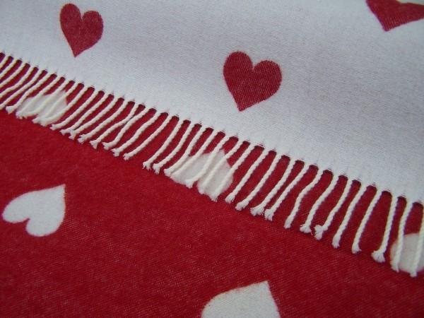 Merino-Decke - MOTIF Red Heart, Red/White, 140 x 200 cm