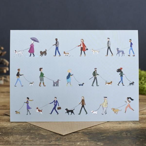Greating Cards, 6er Set Grußkarten, Dog Walkers Range