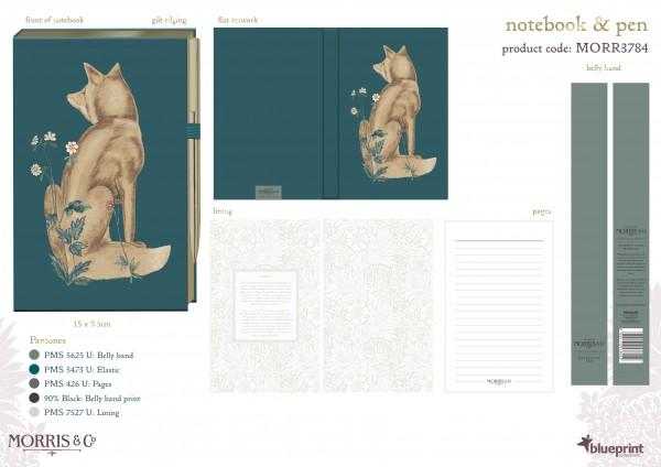 Notebook & Pen Set 2telig, Morris & Co.-Acanthus-
