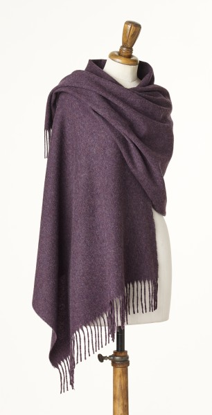 Merino-Stole 70 x 185cm, Plain - Purple Heather